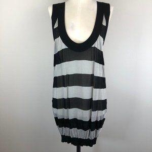 Club Monaco Stripe Silver and Black Mini Dress